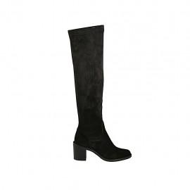 Bottes au-dessus de genou pour femmes en daim et matériau élastique noir talon 6 - Pointures disponibles:  32, 33, 34, 42, 43, 44, 45, 46, 47