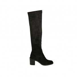 Woman's over-the-knee boot in black suede and elastic material heel 6 - Available sizes:  32, 33, 34, 42, 43, 44, 46, 47