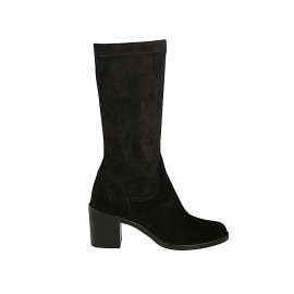 Woman's calf-high boot in black suede and elastic material heel 6 - Available sizes:  32, 33, 34, 42, 43, 44, 45, 46, 47