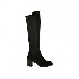 Kniehoher Damenstiefel aus schwarzem Wildleder und elastischem Material Absatz 6 - Verfügbare Größen:  32, 33, 34, 42, 43, 44, 45, 46, 47