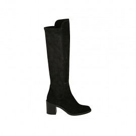 Woman's knee-high boot in black suede and elastic material heel 6 - Available sizes:  32, 33, 34, 42, 43, 44, 45, 46, 47