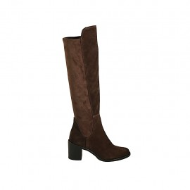 Woman's knee-high boot in brown suede and elastic material heel 6 - Available sizes:  32, 33, 34, 42, 43, 44, 45, 47