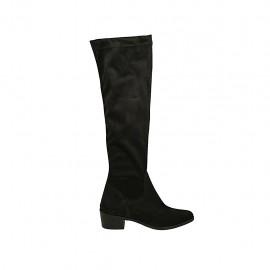 Botas a la rodilla a punta para mujer en gamuza y material elastico negro tacon 4 - Tallas disponibles:  33, 34