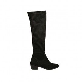 Woman's knee-high pointy boot in black suede and elastic material heel 4 - Available sizes:  33, 34