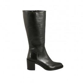 Wadenhoher Damenstiefel aus schwarzem Leder mit Reißverschluss Absatz 6 - Verfügbare Größen:  42