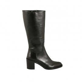 Woman's boot in black leather with zipper heel 6 - Available sizes:  32, 33, 34, 42, 43, 44, 45, 47