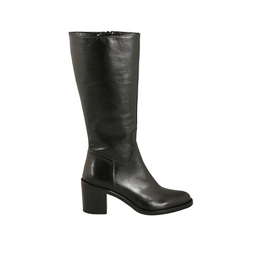 Wadenhoher Damenstiefel aus schwarzem Leder mit Reißverschluss Absatz 6 - Verfügbare Größen:  33, 42, 43, 44, 45