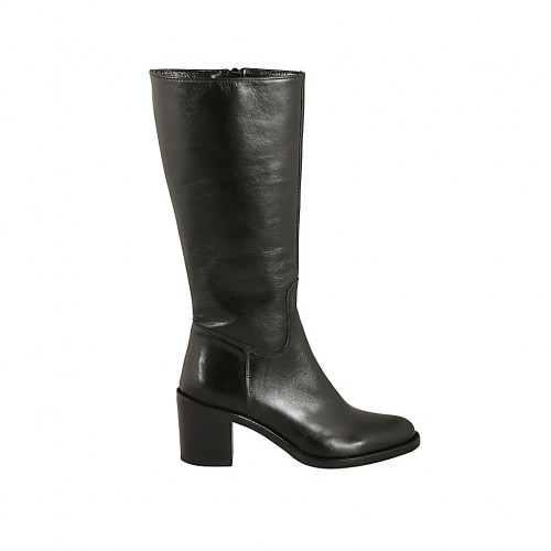 Woman's calf-high boot in black leather with zipper heel 6 - Available sizes:  33, 42, 43, 44, 45