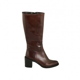 Woman's calf-high boot in brown leather with zipper heel 6 - Available sizes:  42, 43