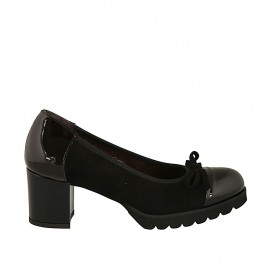 Woman's pump with bow in black suede and patent leather heel 5 - Available sizes:  32, 34, 43