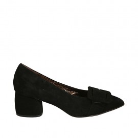 Woman's pointy pump in black suede with buckle block heel 5 - Available sizes:  32, 33, 34, 42, 43, 44, 45