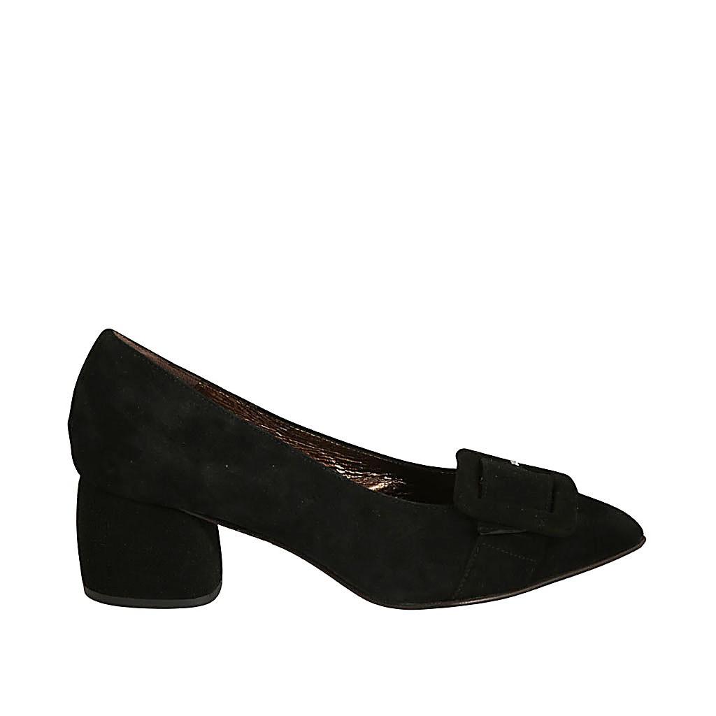 black suede with buckle block heel 5