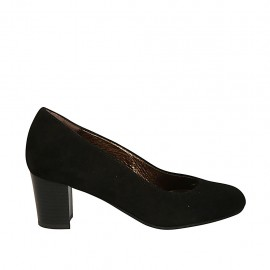 Woman's pump in black suede block heel 5 - Available sizes:  32, 33, 34, 43, 44