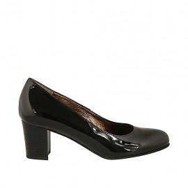 Zapato de salon para mujer en charol negro tacon cuadrado 5 - Tallas disponibles:  32, 33, 34, 45