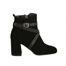 Woman's ankle boot with zipper and buckle in black suede and leather heel 7 - Available sizes:  32, 33, 34, 42, 43, 44, 45