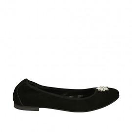 Ballerina da donna in camoscio nero con elastico e strass tacco 1 - Misure disponibili: 42, 43, 46, 47