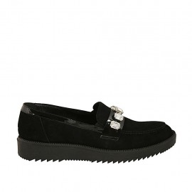 Woman's loafer in black patent leather and suede with rhinestones wedge heel 3 - Available sizes:  43, 45