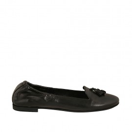 Woman's mocassin with elastic band and tassels in black leather heel 1 - Available sizes:  42, 43, 44, 45, 46, 47