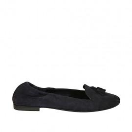 Woman's loafer with elastic band and tassels in blue suede heel 1 - Available sizes:  42, 43