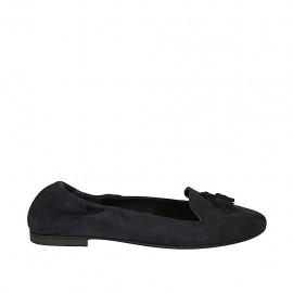 Zapato mocasino con elastico y borlas para mujer en gamuza azul tacon 1 - Tallas disponibles:  42, 43, 44, 45, 46, 47