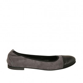 Woman's ballerina shoe with elastic band in grey suede and captoe in black leather heel 1 - Available sizes:  43, 47