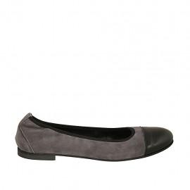 Zapato bailarina para mujer con elastico en gamuza gris y con puntera en piel negra tacon 1 - Tallas disponibles:  47