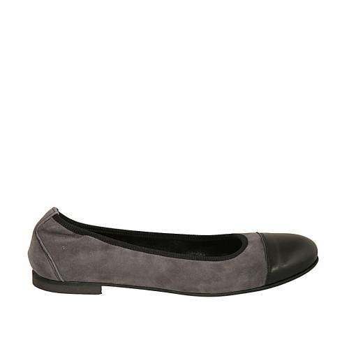 en talon femmes daim en droit avec à cuir elastique 1 pour noir Ballerine gris bout iPkZXTOu