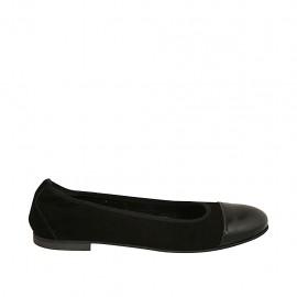 Ballerina da donna con elastico in camoscio nero con puntale in vernice nera tacco 1 - Misure disponibili: 47