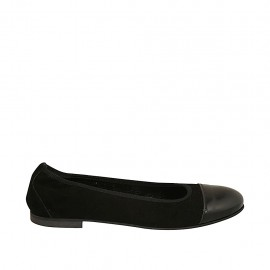 Woman's ballerina shoe with elastic band in black suede and captoe in black patent leather heel 1 - Available sizes:  47