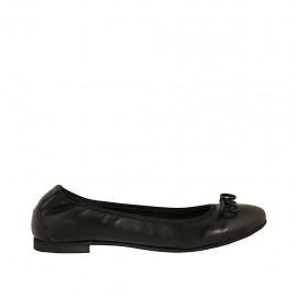 Ballerinaschuh für Damen mit Schleife aus schwarzem Leder Absatz 1 - Verfügbare Größen:  42