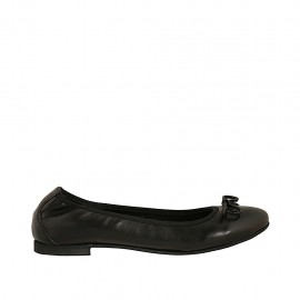 Woman's ballerina shoe with bow in black leather heel 1 - Available sizes:  42