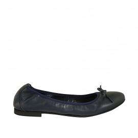 Ballerinaschuh für Damen mit Schleife aus blauem Leder Absatz 1 - Verfügbare Größen:  42