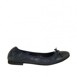 Woman's ballerina shoe with bow in blue leather heel 1 - Available sizes:  42