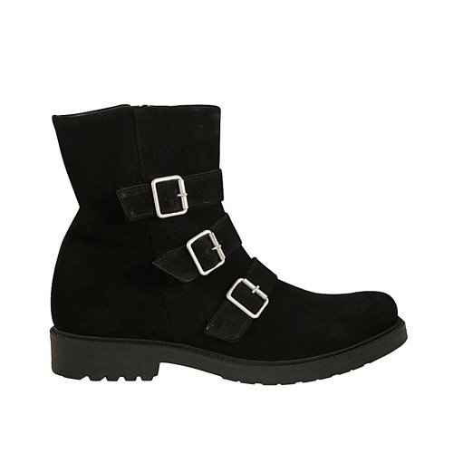 Woman's ankle boot with zipper and buckles in black suede heel 3 - Available sizes:  43, 44, 45
