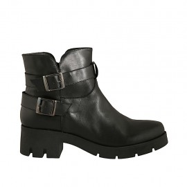 Woman's ankle boot with zipper and buckles in black leather heel 5 - Available sizes:  42, 43, 44, 45