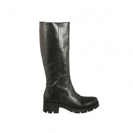Damenstiefel aus schwarzem Leder mit Reißverschluss Absatz 5 - Verfügbare Größen:  42, 43, 44