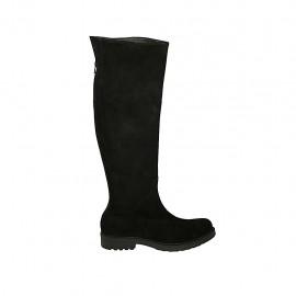 Bota a la rodilla para mujer con cremallera posterior en gamuza negra tacon 3 - Tallas disponibles:  44