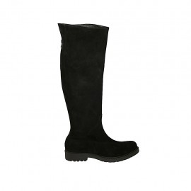Woman's knee-high boot with back zipper in black suede heel 3 - Available sizes:  42, 43, 44, 45, 46