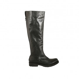 Kniehoher Damenstiefel mit hinterem Rei?verschluss aus schwarzem Leder Absatz 3 - Verfügbare Größen:  42, 43, 44, 46