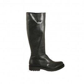 Woman's boot  in black-colored leather with zipper heel 3 - Available sizes:  42