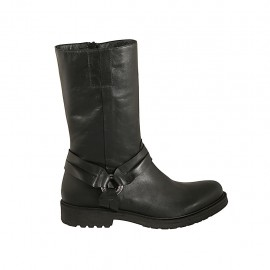 Woman's boot with zipper and accessory in black-colored leather heel 3 - Available sizes:  42, 43, 44, 45, 46