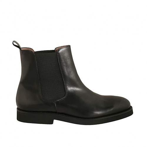 Men's ankle boot in black smooth leather with elastic bands - Available sizes:  47, 50, 51