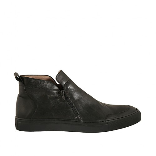 Men's casual shoe with zippers in black leather - Available sizes:  46, 47, 49, 50