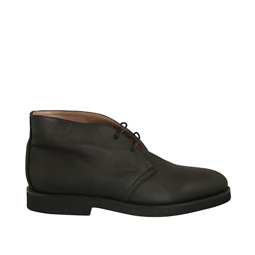 Men's ankle-high laced shoe in black leather - Available sizes:  48, 50