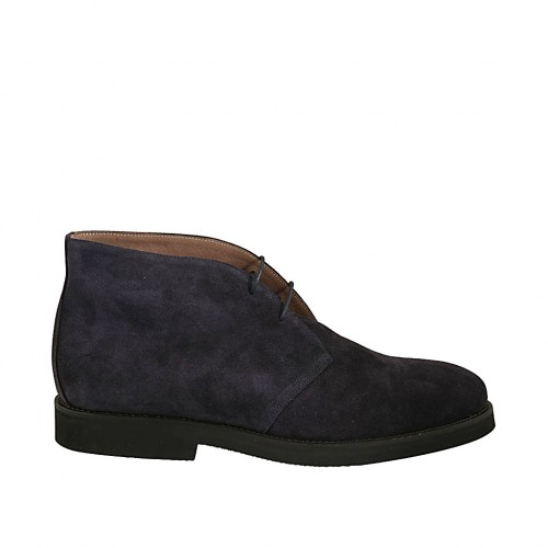 Men's sportive laced ankle shoe in blue suede - Available sizes:  46, 47, 48, 49, 50, 51