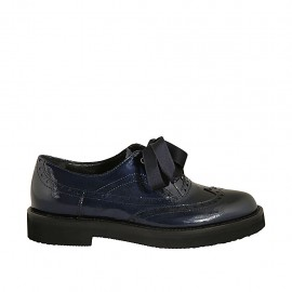 Woman's laced Oxford shoe in blue patent leather heel 3 - Available sizes:  33, 34, 42, 43, 44