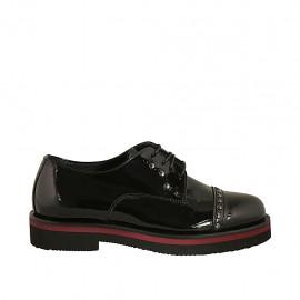 Zapato derby para mujer con cordones, tachuelas y puntera en charol negro tacon 3 - Tallas disponibles:  33, 34, 42