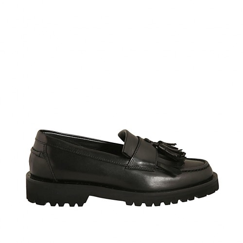 Woman's loafer with tassels in black leather heel 3 - Available sizes:  33, 34