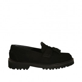 Woman's mocassin with tassels in black suede heel 3 - Available sizes:  33, 34, 42, 43, 44, 45