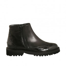 Woman's ankle boot with zippers in black leather and patent leather heel 3 - Available sizes:  33, 34, 42, 43, 44, 45